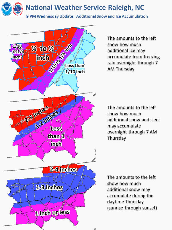 The following image shows how much additional snow and ice are expected overnight and Thursday. http://t.co/LlD4GXgUsR