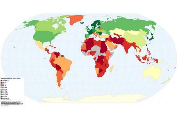 La mappa mondiale della velocità della rete internet http://t.co/YfCgj5u26V http://t.co/JWQWFc2g2z