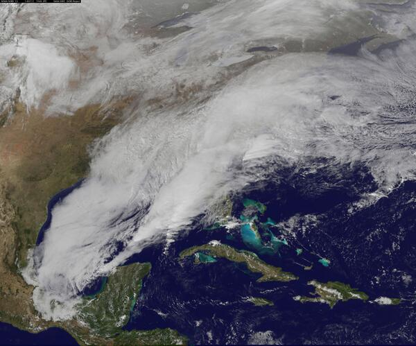 Winter storm over south and east coast. Image via @NASA. #NCSnow http://t.co/6ZQiH4b5jk