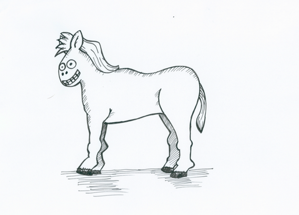 I have drawn a horse without a long face. There's your answer barman. It's because they look terrifying without one. http://t.co/3s9OGJjNtN