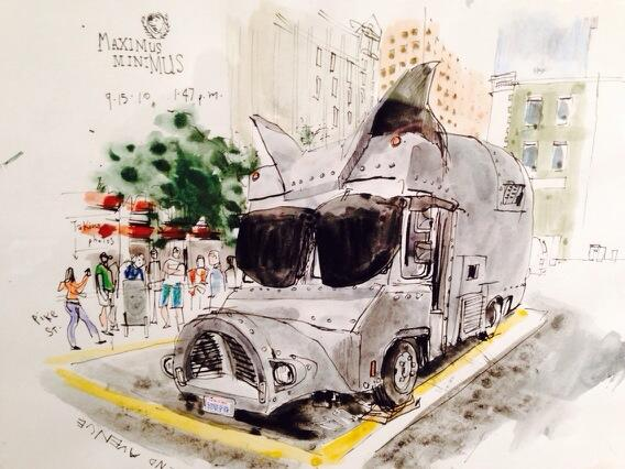 Wow! RT @mcpheeceo: Drawing of fabulous @somepigseattle truck by @seattlesketcher Gabi Campanario on exhibit @MOHAI. http://t.co/4uhLQLM0De
