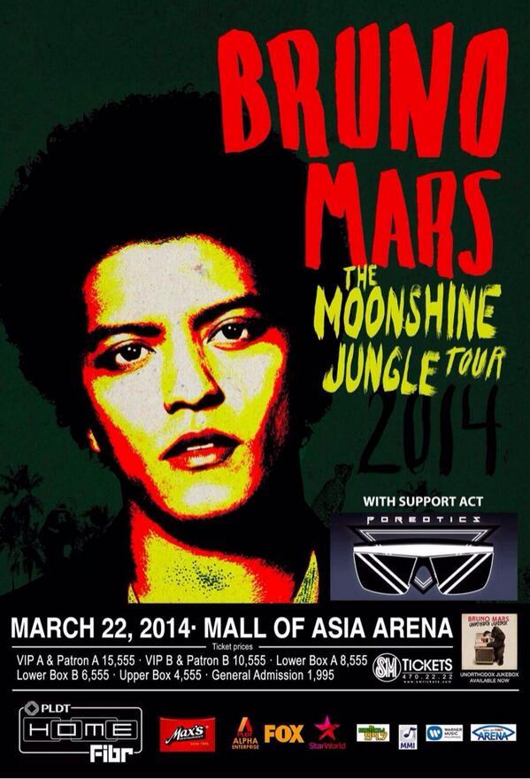@BrunoMars x @POREOTICS - The Moonshine Jungle Tour in Manila, Philippines! #BrunoMarsMNL @mmilive @itsarpee http://t.co/6sGJjc0xL1