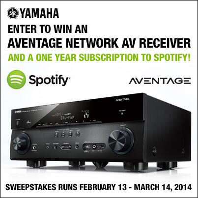 Win an network AV receiver + a one year subscription to Spotify!  Enter 5x daily here:  http://t.co/24q80g2Sdi. RT http://t.co/FiAZtQXL3a