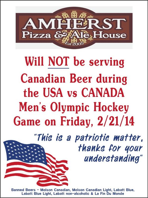 Meanwhile in Canada, we don't have to refuse to sell American beer...no one wants it! http://t.co/4pA2gGU8Xr  #GoCanadaGo @AmherstAleHouse