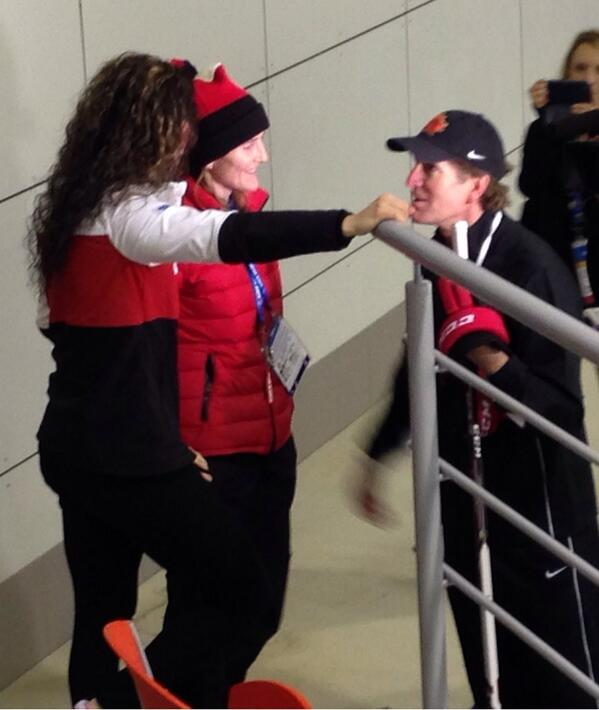 Lovely moment Coach Babcock comes off the ice mid practice to congratulate @wick_22 and @ShannonSzabados #Sochi2014 http://t.co/07vmlUUUdY