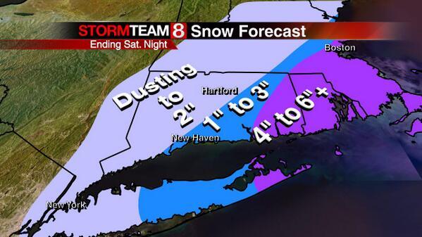 Here's my early snow accumulation outlook for CT Saturday afternoon-night. #ctwx http://t.co/z9K224LM72