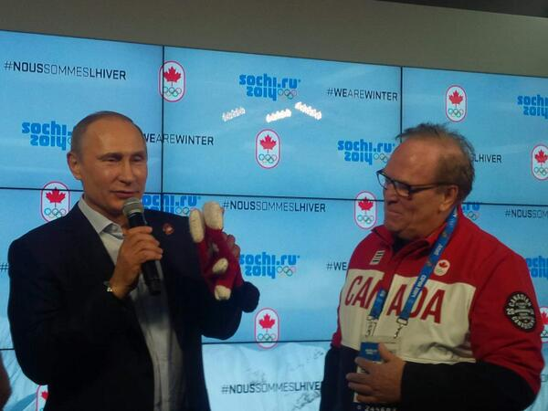 Very nice words from Mr. Putin just now at Canada House 'good luck to canada except in hockey'...haha #sochi2014 http://t.co/3mEMWVdq8T
