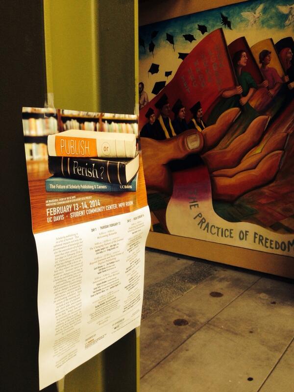 Perfect backdrop for sign for #PublishPerish14 at #UCDavis http://t.co/hpgLCaZHzA