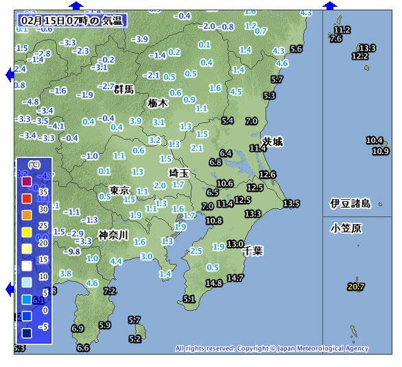 これ、おもしろいな。東京は、まだ1℃台だけど銚子は13.5℃。房総はすでに15℃近くに気温が上昇している。今日の東京は10℃くらいまで上がるようだから、しゃかりきになって雪かきしないように。積み上げて固めると余計溶けにくくなるよ。 http://t.co/GufWLZWUH2
