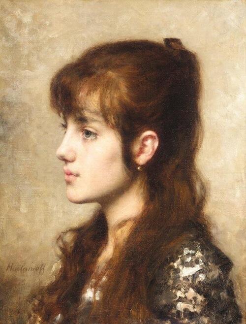 「少女」制作年不明アレクセイ・ハラモフAlexei Alexeivich Harlamoff, A Young Girl