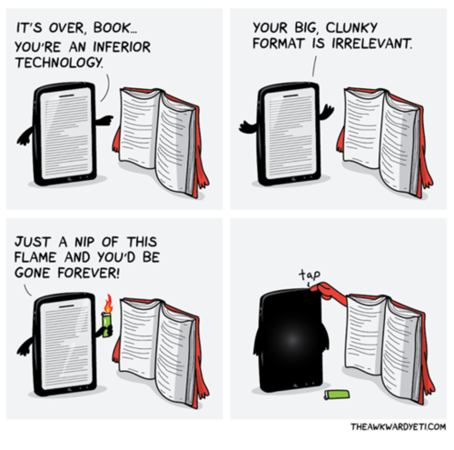 Hahaha! RT @Leopard212: Books never die. batteries do. Yes, you are welcome! http://t.co/UxuaSdWBh1
