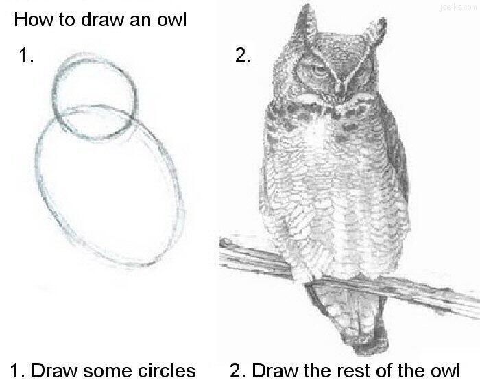 hello world draw an owl