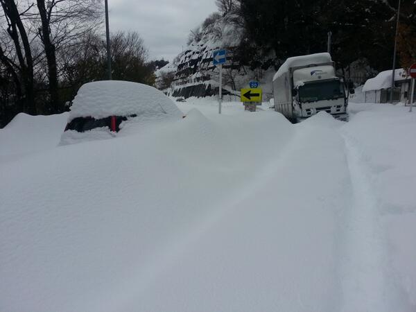 福島県には来て、山梨県には自衛隊来ないの? 大月ICの脇、20号線こんなんだよ?山岳部でなんもないし、除雪車も無理っぽいし、警察いないし今は避難所だけど、午前中の配給から何もない水も止まった。おなかすいた。誰も助けてくれない。 pic.twitter.com/szoXetxxIQ