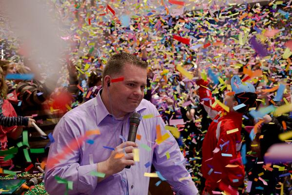Confetti swirls around Keith Kennedy as he announces the final #wkddradiothon total of $633,306.98 http://t.co/RMARcPQXy2
