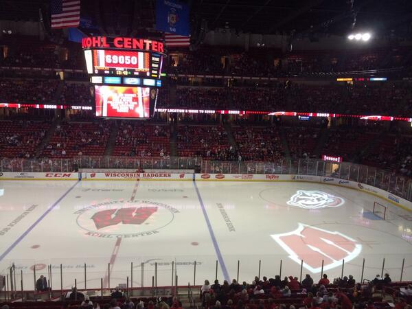 Working @BadgerWHockey's #FillTheBowl at the Kohl Center.