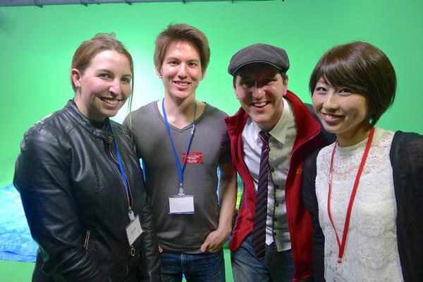 Fun times hangin' with @yumyumsesame, @konnichiwatsup, and @chika_english at the YouTube Space party last night! http://t.co/gnBvQUkUpc