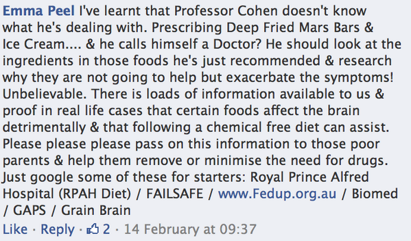 More Facebook comments about the importance of diet to treat ADHD symptoms after watching #KidsOnSpeed 2/6 http://t.co/GotTp2cWjs