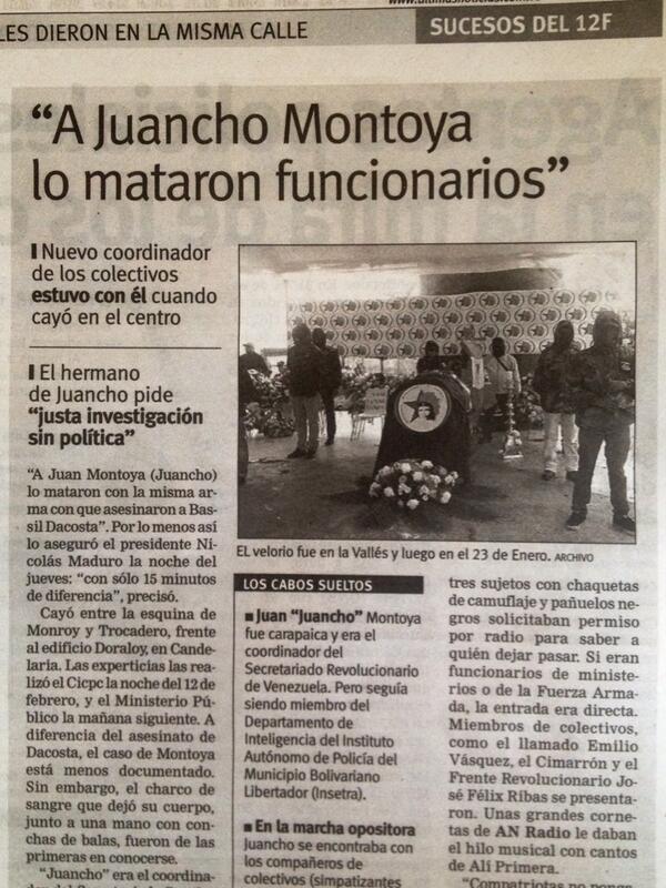 """""""@bvworldcorp: Lo dice ÚLTIMAS NOTICIAS: """"A Juancho Montoya lo mataron funcionarios"""" http://t.co/TrDRvpPKGy"""" @HRC @hrw @HumanRightsgov"""