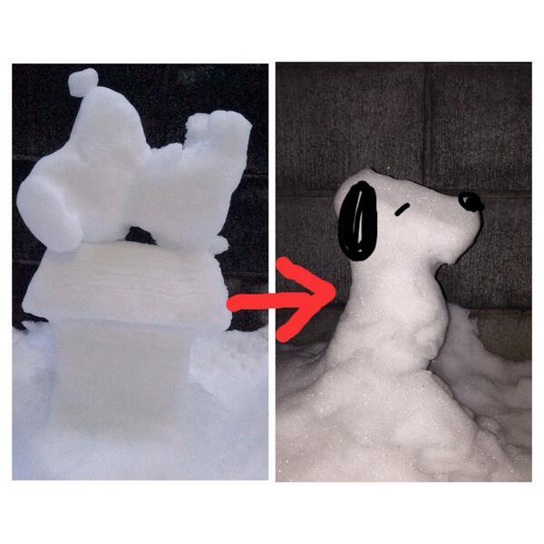 昨日作ったスヌーピーが溶けてスヌーピーみたいな形になってた奇跡 http://t.co/mxkNImwkNp
