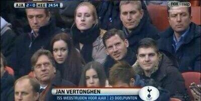 Spurs Christian Eriksen & Jan Vertonghen watched old side Ajax v Heernveen from the stands with the fans