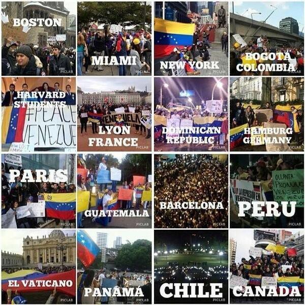 Protestos pelo mundo apoiando o povo da Venezuela contra Maduro.   Kd Brasil??? http://t.co/fypb4kiAqZ