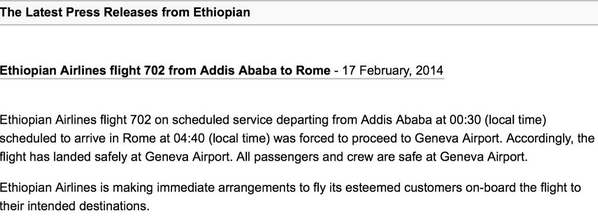 Ethiopian Airlines has deleted its press release. Here it is, because screengrabs are forever. #ET702 http://t.co/5VGyLfUm4e