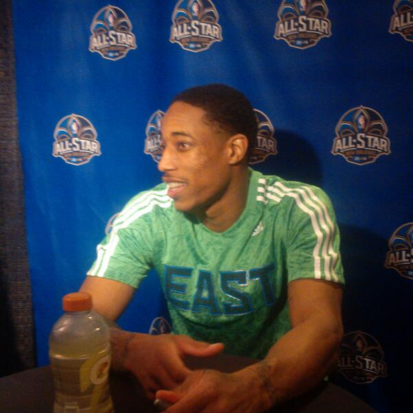 ". @DeMar_DeRozan after his #NBAAllStar debut: ""I wasn't nervous at all. I thought I would be before the game."" #RTZ http://t.co/zoRCkhMd6J"