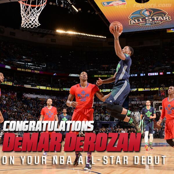 Congrats @DeMar_DeRozan on your #NBAAllStar Game debut. See you next year in NYC! #RTZ #Raptors #ProudOfDemar http://t.co/gPtxW4K6kp