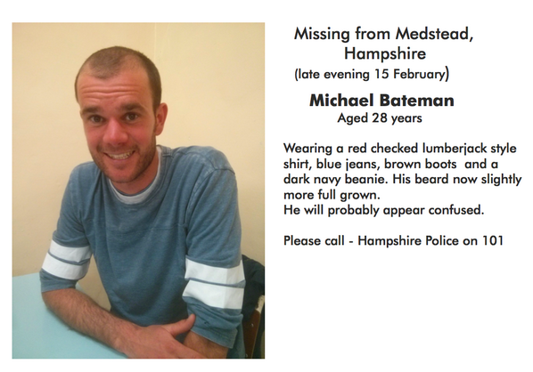My brother went missing Sat night in Hants, UK. Please fwd this to anyone you know around there. Thanks. @HantsPolice http://t.co/OnCwMFxjsX