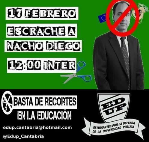 Escrache a Ignacio Diego. Hoy a las 12h en la Universidad de Cantabria #escracheIDiego http://t.co/1O7WzX9kkK http://t.co/F6I7Xte7b7