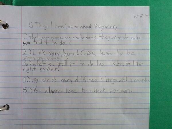 Five observations by a female programmer aged 7. Very astute! http://t.co/pViZeOrNTq (HT @KathrynParsons)