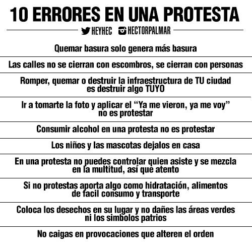 10 Errores que no puedes permitir en una Protesta, ante todo eres un ciudadano ¡No lo olvides! http://t.co/h197DRuGNF