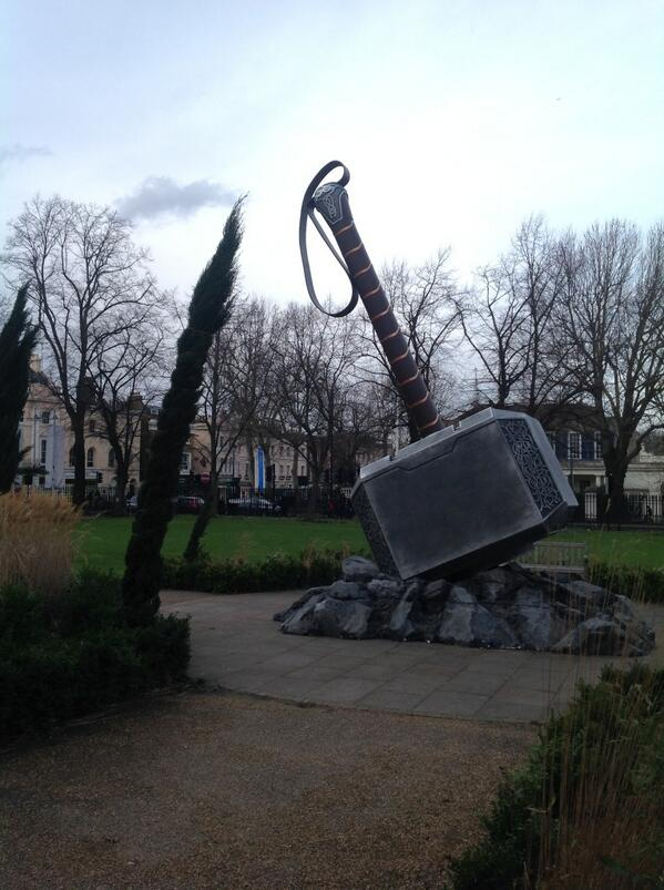 It has come to our attention that Thor of Asgard has left his giant hammer by Devonport House Greenwich http://t.co/B729EI7hjT