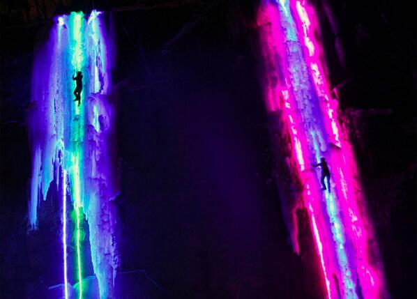 Lights strung behind massive pillars of ice make these frozen waterfalls glow. http://t.co/YGKSDtVF5e #climbing http://t.co/y2NvKtOB8D