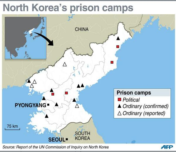 Map locating North Korea's prison camps http://t.co/vmRjCZ20Vu RT @AFP @FREE_NKOREA #HumanRights #NorthKorea