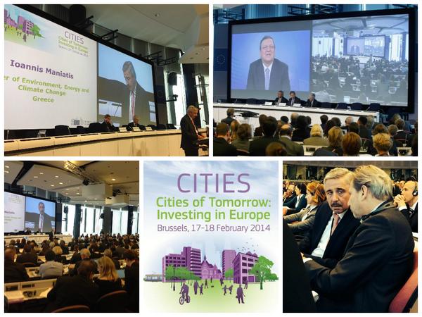 EnvMin @Yannis_Maniatis at #EUCiTIES Forum w/ @BarrosoEU @JHahnEU & @UNHabitatEU Joan Clos @EU_Regional #gr2014eu http://t.co/33aV8cj3uO