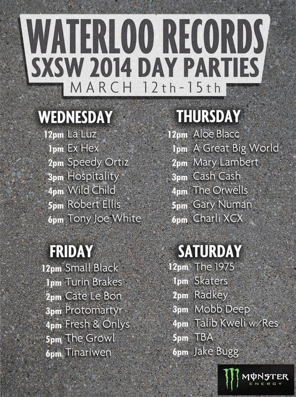Here our our #SXSW Day Party lineups. Enjoy http://t.co/YftVHNReei