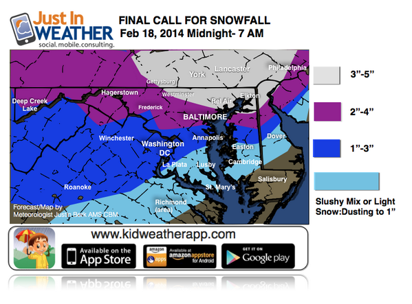 My FINAL CALL FOR SNOWFALL* Increased a little. NWS posted Adv in PA, should add MD shortly http://t.co/d85S1iGowV