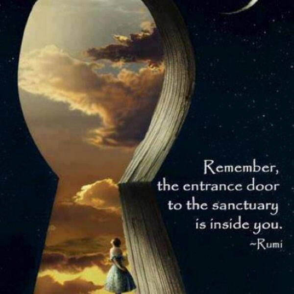 """""""Remember, the entrance door to the sanctuary is inside you."""" - Rumi  Learn to dive within: http://t.co/fpCswHNeFf http://t.co/dWgUzhGVxP"""