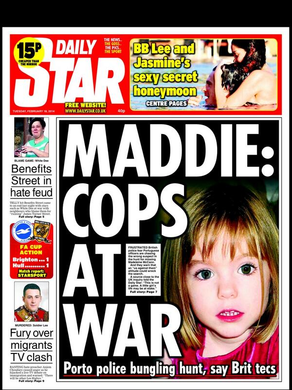 MADDIE:  COPS AT WAR - Daily Star 18/2/14 BgtV07PIcAAF-Ia