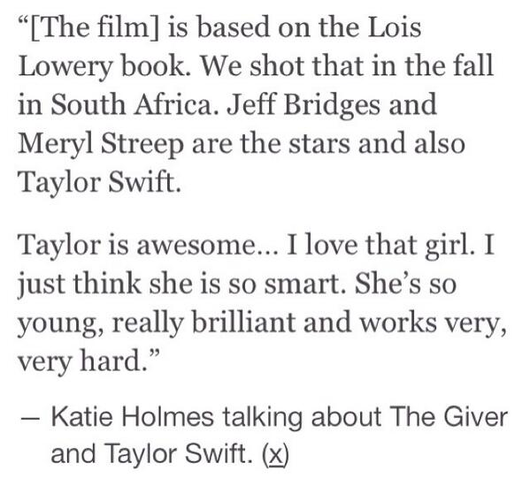 Katie Holmes talking about The Giver and Taylor Swift. http://t.co/lCljBa9XOB