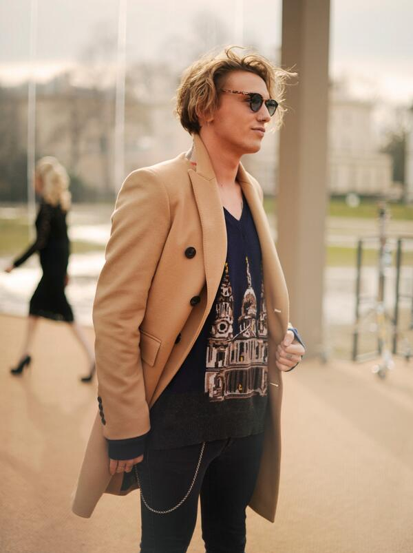 f0e55a599ca british actor jamiebower wearing burberry at the a w14 show space in  kensington gardens yesterday in