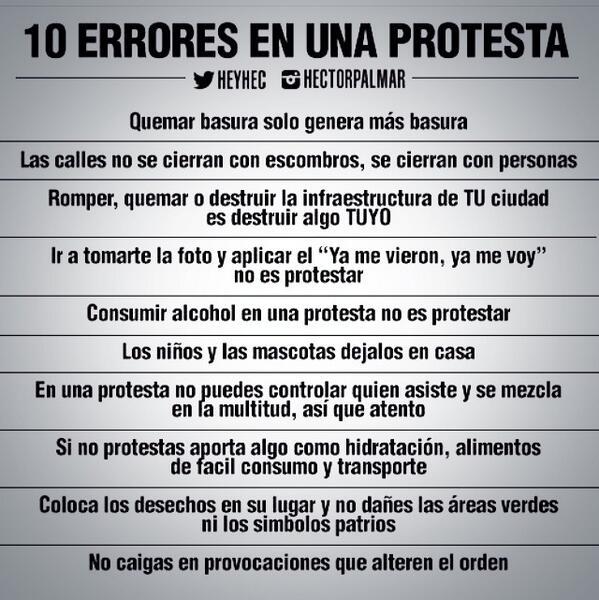 [IMPORTANTE] No cometan estos errores durante la protesta! Excelente gráfica de @Heyhec http://t.co/fMtrtIRm38