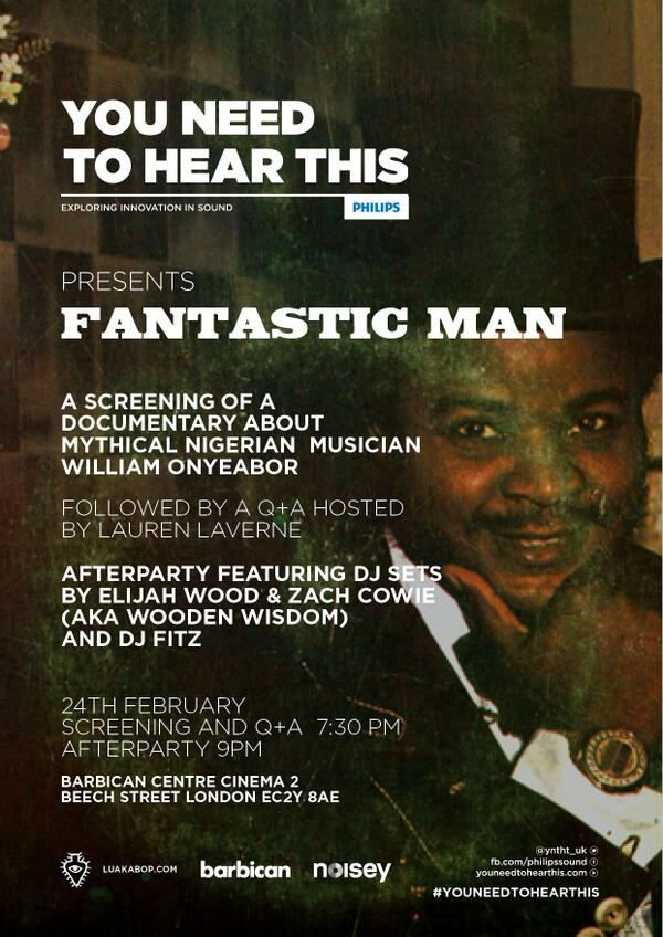 Follow and RT for the chance to #win tickets to the screening of our William Onyeabor documentary, 'Fantastic Man' http://t.co/B1FdRRZVt8