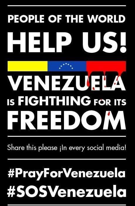 Un amiga mía venezolana pide en #Facebook que compartamos este mensaje de apoyo a #Venezuela. #SOSVenezuela http://t.co/1fKrPYc3Sr
