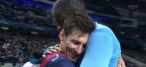Messi and Yaya Toure share the most gentle and tender embrace youll ever see at full time