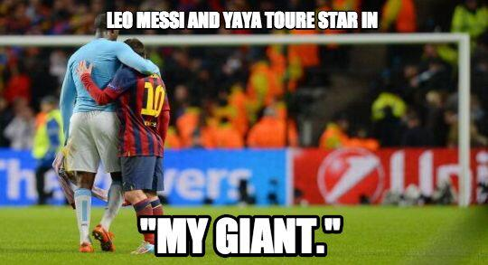 Too Cute! Messi & Yaya Toure shared the sweetest & most tender embrace at full time of Man City 0   Barcelona 2