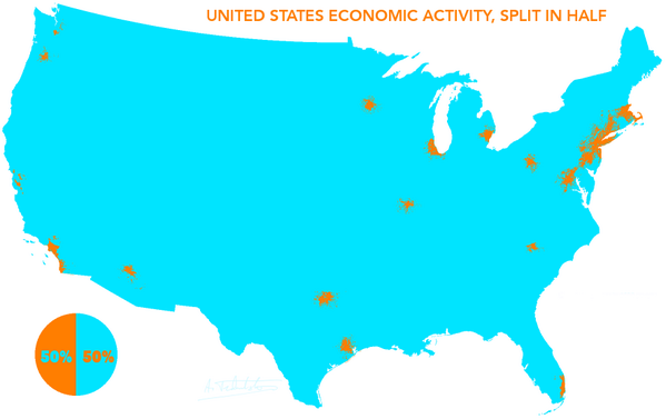 This is an incredible map. 50% of GDP comes from orange areas, 50% from blue. http://t.co/bKPCH8dLOa via @iseff
