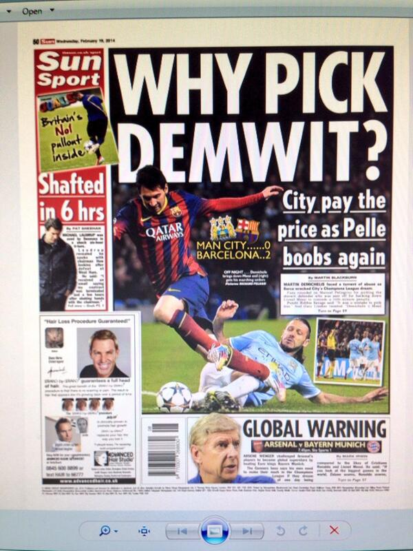 The SUN troll Pellegrini over Demichelis: Why Pick Demwit?