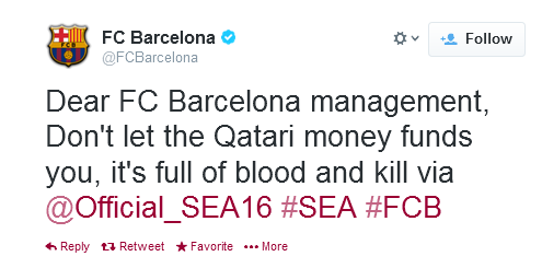 Pic: Barca Twitter account hacked after City win